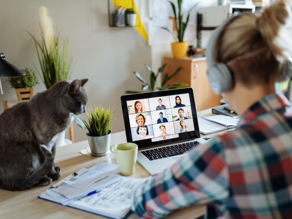 Woman has virtual meeting on laptop