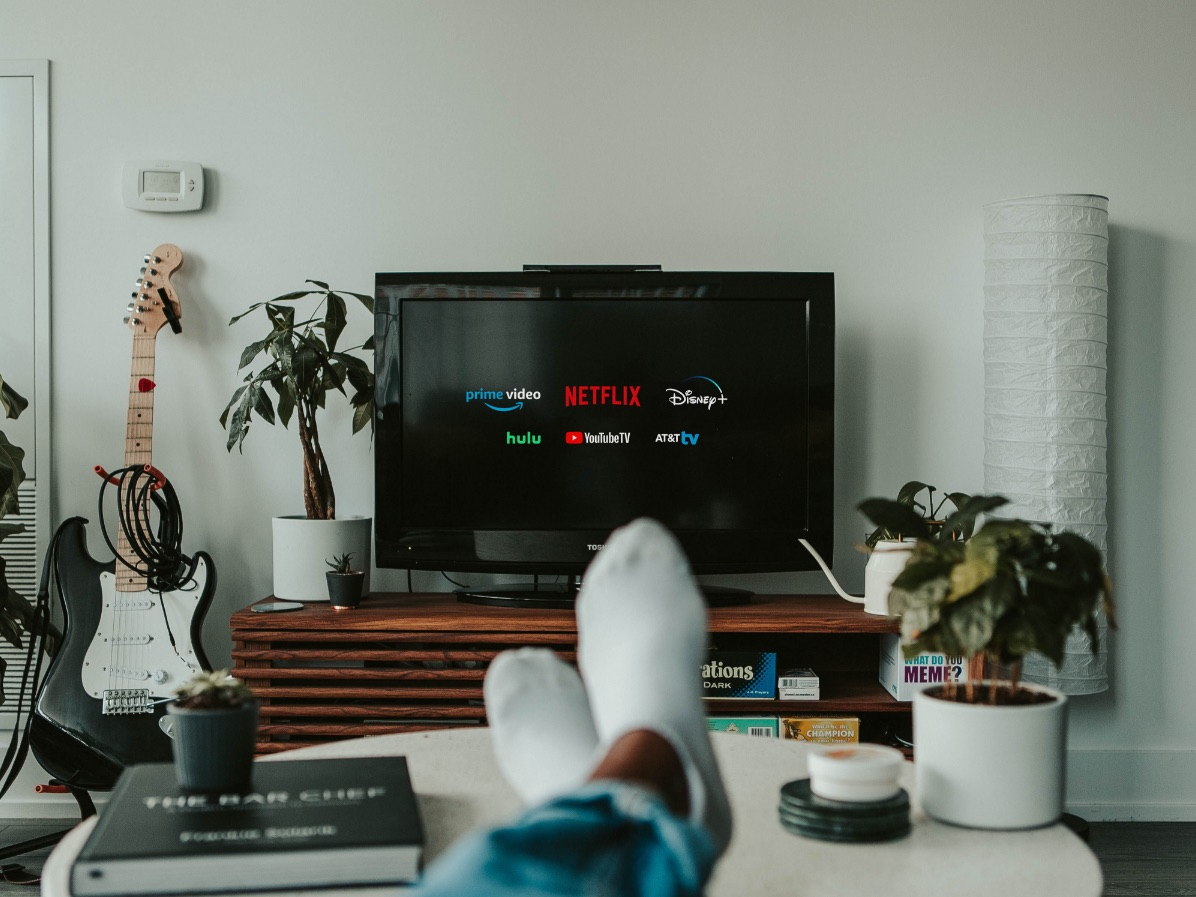 Living room with streaming service on TV